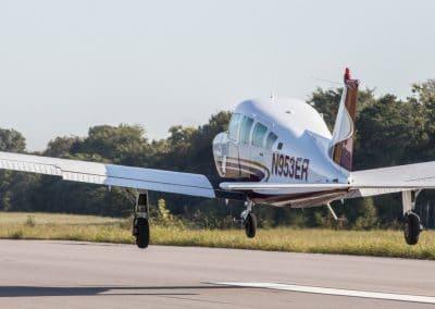 Aircraft departs from runway