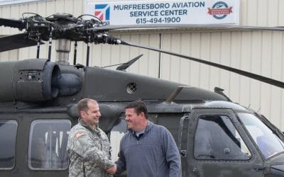 MILITARY BLACK HAWK HELICOPTER LANDS AT MURFREESBORO AVIATION